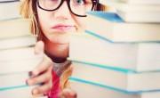 Stressed behind books