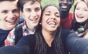 Friends taking selfie in the woods